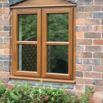 Brown timber casement windows