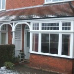 White timber bay windows