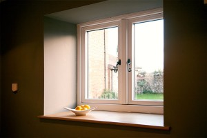 White timber effect windows